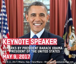 Seeds&Chips 2017, ospite d'onore Barack Obama