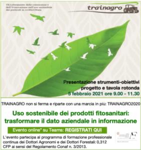 EVENTO ONLINE - Uso sostenibile dei prodotti fitosanitari: trasformare il dato aziendale in informazione
